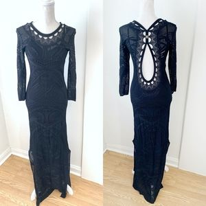 Roberto Cavalli Black 3/4 Sleeve Formal Gown {ST}